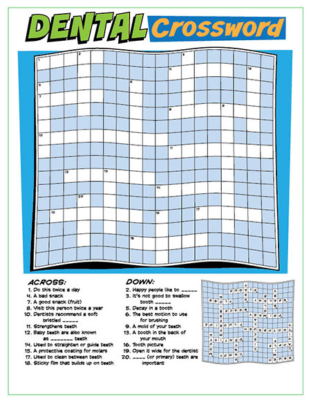 Dental Crossword Puzzle Activity Sheet - Pediatric Dentist in Springfield, MO