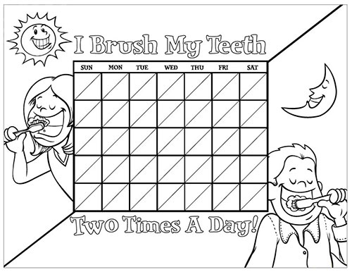 Black and White Brushing Chart for Children - Pediatric Dentist in Springfield, MO