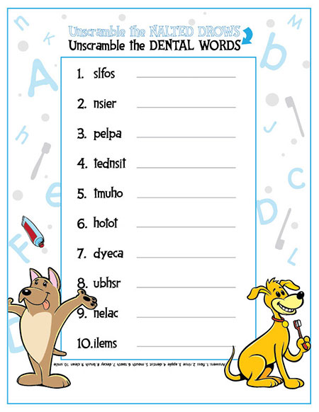 Unscramble the Dental Words Activity Sheet - Pediatric Dentist in Springfield, MO